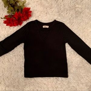 Hollister Black Long Sleeve Vneck With Laces